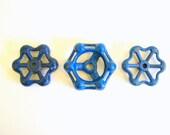 Vintage Water Valves-Blue-Steampunk-Garden Collection-Water Handles-Valve Handles