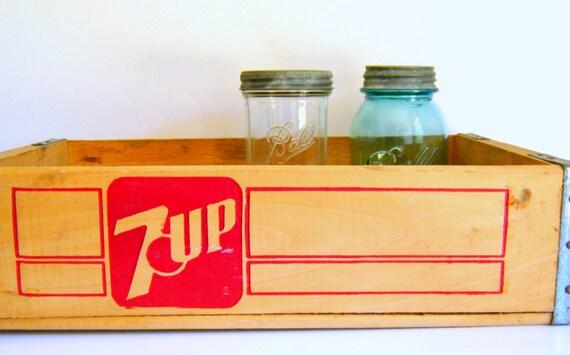Vintage Seven-Up Wood Crate - Industrial Storage - 7 Up - Organization
