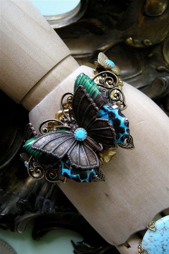 Butterfly Bracelet, Butterfly Cuff, Butterfly Jewelry, Butterfly Tin Pin, Cuff Bracelet,  Tin Pin Jewelry, Butterfly