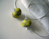 lime green scales beads and sterling silver wire hoop earrings