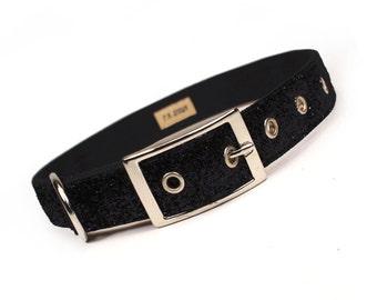 SALE - black tie sparkle metal buckle dog collar (1 inch)
