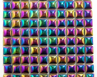 Cool Disco Colors Ceramic Tiles Obsidian Black Rainbow Color Metallic Ceramic Tiles for Mosaics 3/8 inch Square Black AB Set of 100