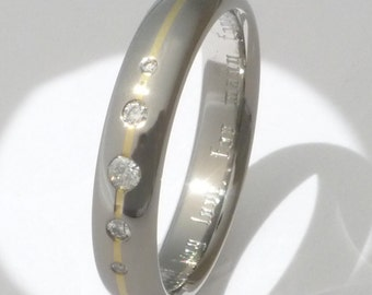 Titanium Gold Engagement Ring with Diamonds - Diamond and Precious Metal Ring - s15