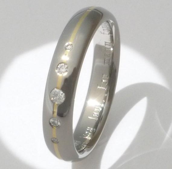 Titanium Gold Engagement Ring with Diamonds - Diamond and Precious Metal Ring - s15