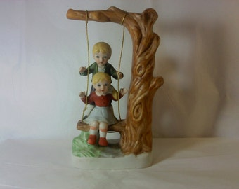FREE SHIPPING Figurine Kids swing vintage knick knacks nic nacs (Vault 5)
