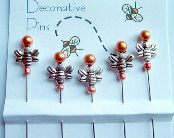 Bee Sewing Pins - Dress up your Pincushion - Silvertone Bee Pins - Quilting Pins - Pincushion Pals - Quilter Gifts - Secret Sister Gift
