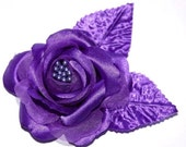 Purple Satin Rose Hair Clip Flower Bridal Prom Bridesmaid Bridal Party Purple Wedding Decor