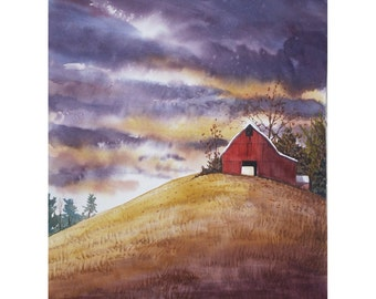 watercolor landscape painting PRINT red barn storm Fall  rural country storm clouds  GICLEE  various sizes