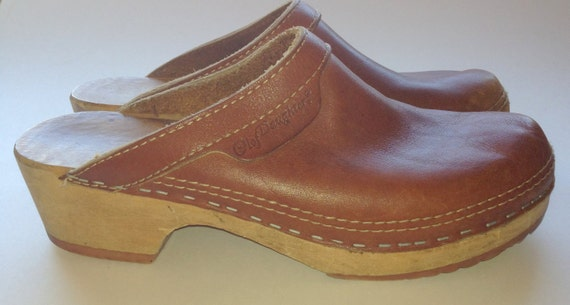80s Olof Daughters Vintage Brown Leather Wood Sole Clogs 7 // 38