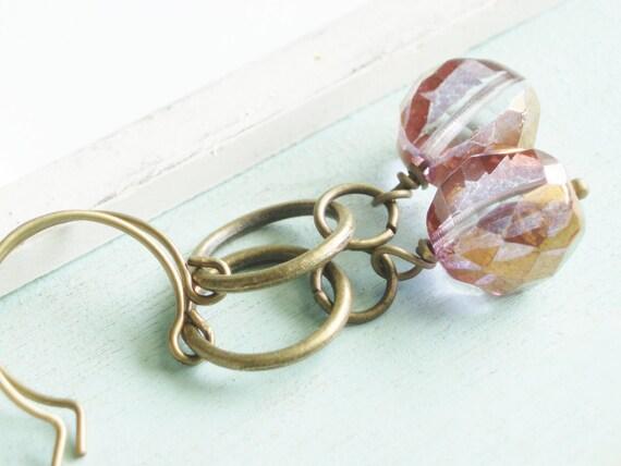 Beaded Earrings - Rosy Light - Czech Glass and Brass Earrings