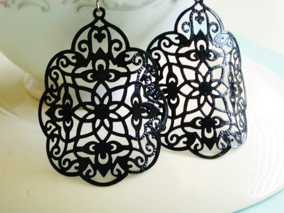 Large Statement Earrings - Byzantine - Black - Fall Trends