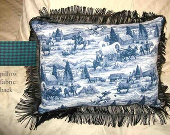 Final Markdown Sale...WESTERN SCENE Pioneer Cowboys Horses Blue Toile Pillow w/Trim...Price Reduced