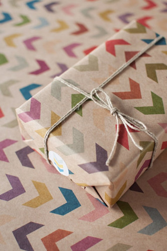 3 Sheets Follow the Arrow - Wrapping Paper - Herringbone - Chevron - Gift Wrap