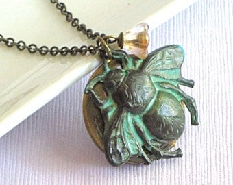 Verdigris Bee Locket Necklace -  Brass, Bee Jewelry, Nature Jewelry, Nature Necklace, Keepsake Jewelry