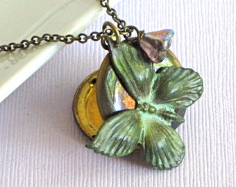 Butterfly Locket Necklace -  Verdigris Patina Brass, Butterfly Jewelry