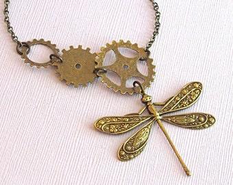Steampunk Dragonfly Necklace - Brass Gear Jewelry