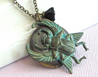 Scarab Locket Necklace - Verdigris Brass, Egyptian Beetle