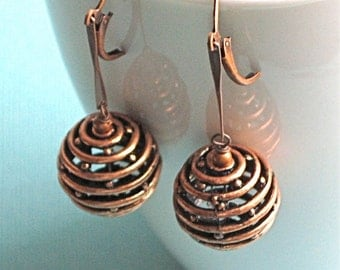 Copper Cage Earrings