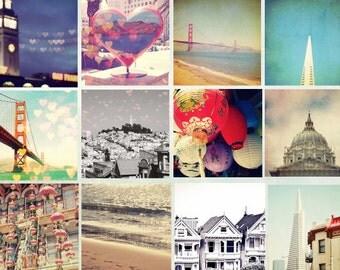 San Francisco - 12 - 5x5 mini prints - Golden Gate Bridge, Bokeh, Hearts, Love, Collection, Beach, China Town, Lanterns
