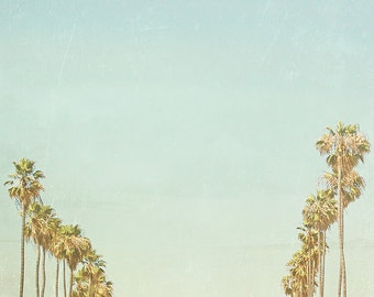 BUY 2 GET 1 FREE Palm Trees, California Photography, Retro Inspired, fpoe, Sky, Blue, Green, Wall Decor - Forever California