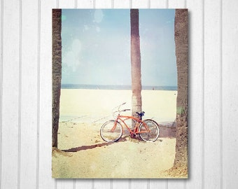 BUY 2 GET 1 FREE California Photography, Beach Photography, Venice Beach Print, Orange Bike, Travel Photography - Cruising to the Beach