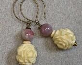 Vintage Carved Bone Flower Bead Earrings, Vintage Plum Purple Glass