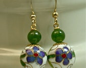 Vintage Nephrite Jade Bead Dangle Drop Earrings, White Cloisonne Beads, Gold French Ear Wires - GIFT WRAPPED