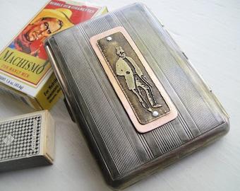 Dapper Gentleman Steampunk Etched Cigarette Case Wallet in Pinstripe - Acid Bath Series