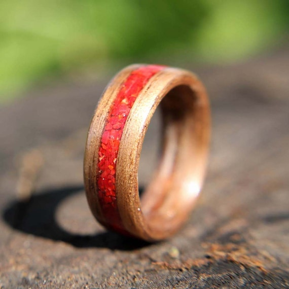 Bentwood Ring Walnut with Red Coral Inlay