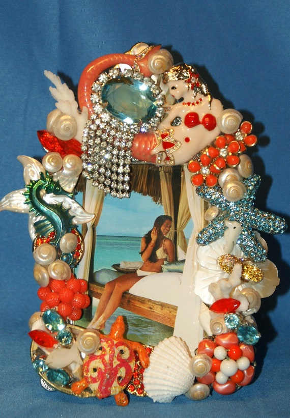 RESERVED for Laketrat RESERVED Coral  Turquoise Mermaid Seashell Jeweled Rhinestone Picture Frame OOAK