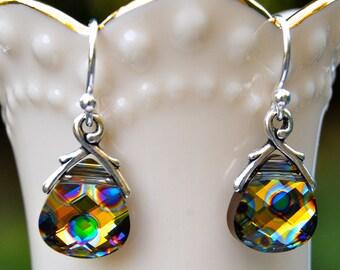 Golden Peacock Eye Swarovski Crystal Earrings