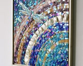 Sundance - A colorful, original work of art, large mosaic, mosaic artwork, dragonfly art, glass art, framed art, one of a kind, original art