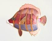 Vintage Colorful Enamel Fish Figural Brooch Coral Pink Purple Pin Sea Tropical Ocean