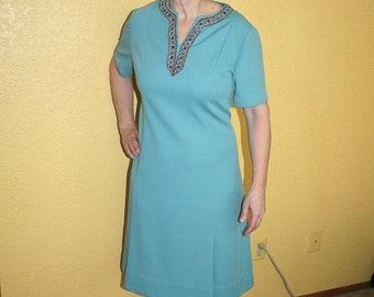 Vintage 1960s Aqua Dress Jeweled Neckline A line size 8 Housewife Handmade
