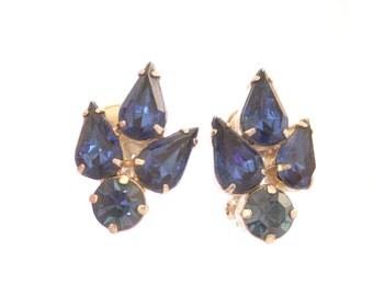 Sapphire Blue Rhinestone Earrings Vintage Silver 1950s Silvertone Clip On