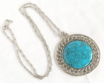 Big Turquoise Medallion Necklace Vintage 1970s Faux Stone Pendant Round Chunky