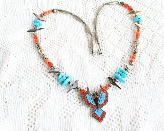 Vintage Turquoise Coral Phoenix Pendant Necklace 1970s Beaded Fetish Inlaid