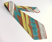 Vintage 1940s Necktie // Bold Silk Abstract Extra Wide Tie in Brown, Yellow and Teal