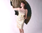 RESERVED Vintage 1950s Dress // Bombshell 1950s Gold Lamé Rockabilly Wiggle Dress L XL