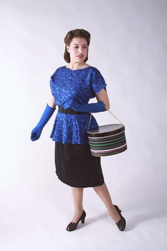 Vintage 1980s Dress - 80s does 40s Royal Blue and Black Peplum Torch Singer Dress XL