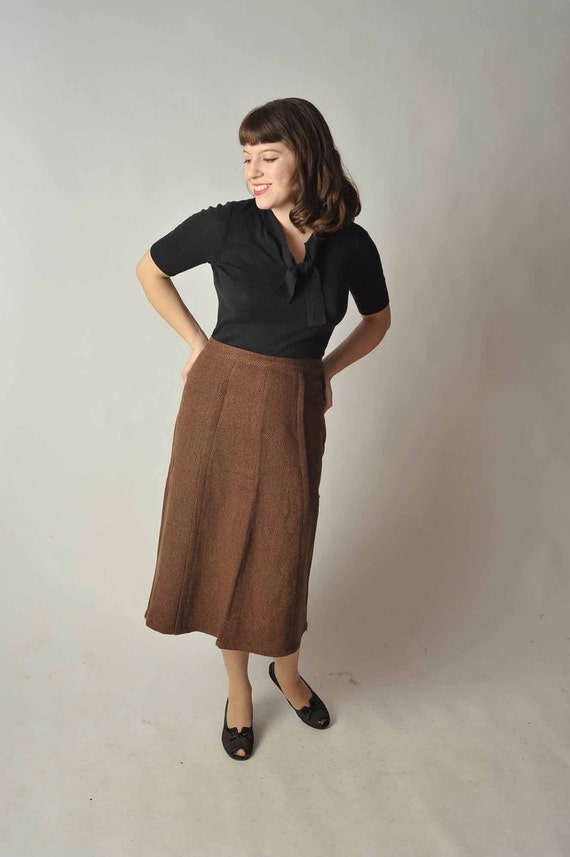 Vintage 1950s Skirt // Brown Wool Tweed Skirt