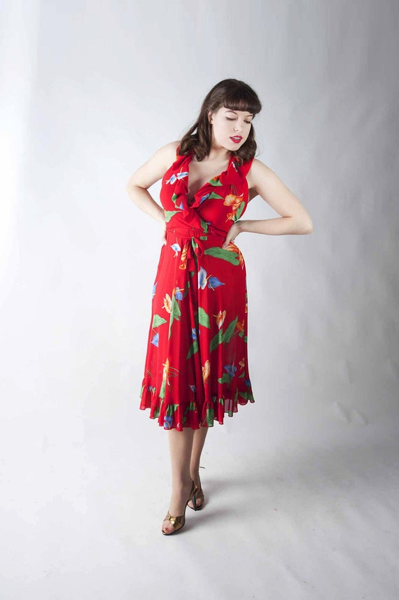 Vintage 1970s Hawaiian Dress // Sexy Silky Red Tropical Tiki Halter Dress