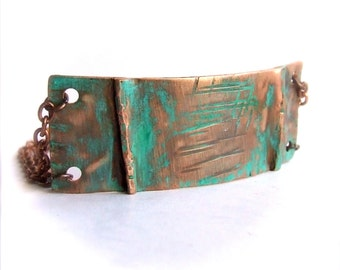 SALE - Turquoise Patina Chain Wrap Bracelet No.2 Fold Formed Verdigris Copper Metalwork Bar Handmade Boho Jewellery