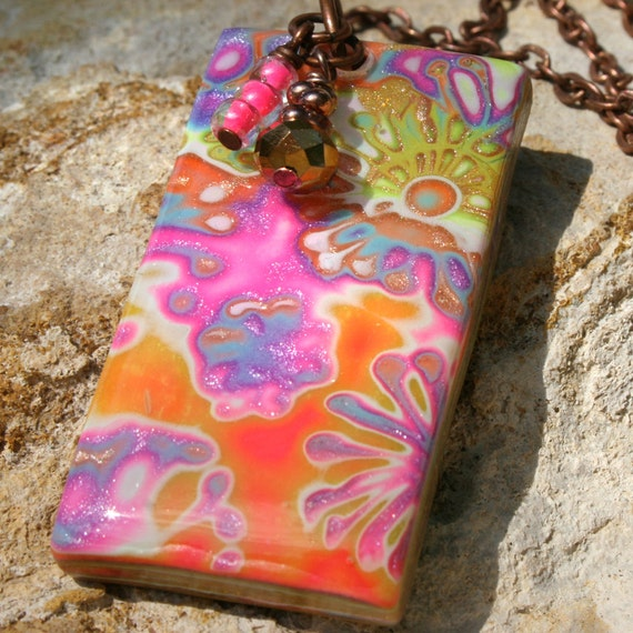 Polymer Clay Pendant on Copper Chain Necklace  - Summer Flowers in Neon Pink and Green Resin Pendant with Beaded Charms