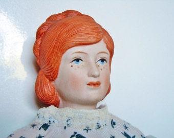 1977 Porcelain Doll Little Women Beth March Louisa May Alcott Book Bisque Head
