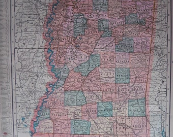 1899 Color Map of Mississippi and Louisiana. FREE U.S. SHIPPING