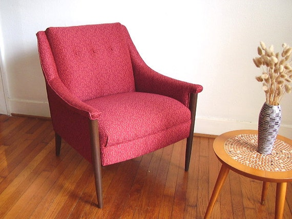 Red 1960s Mod Retro Arm Chair