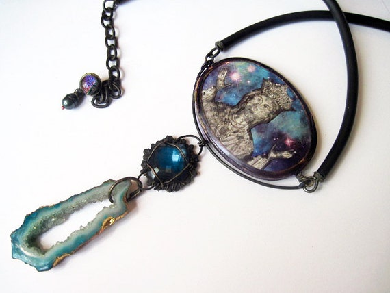 The Virgin of Empty Eternities. Cosmic Victorian Tribal Pendant Necklace with Druzy, Virgin Mary, Galaxy Nebula.