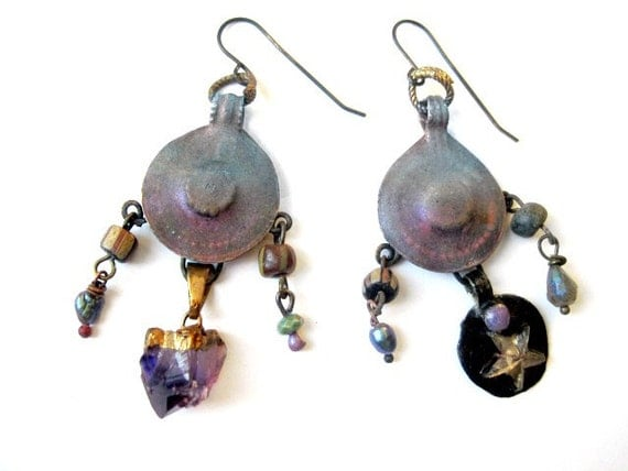 As a Star. Cosmic Tribal Talisman  Earrings.
