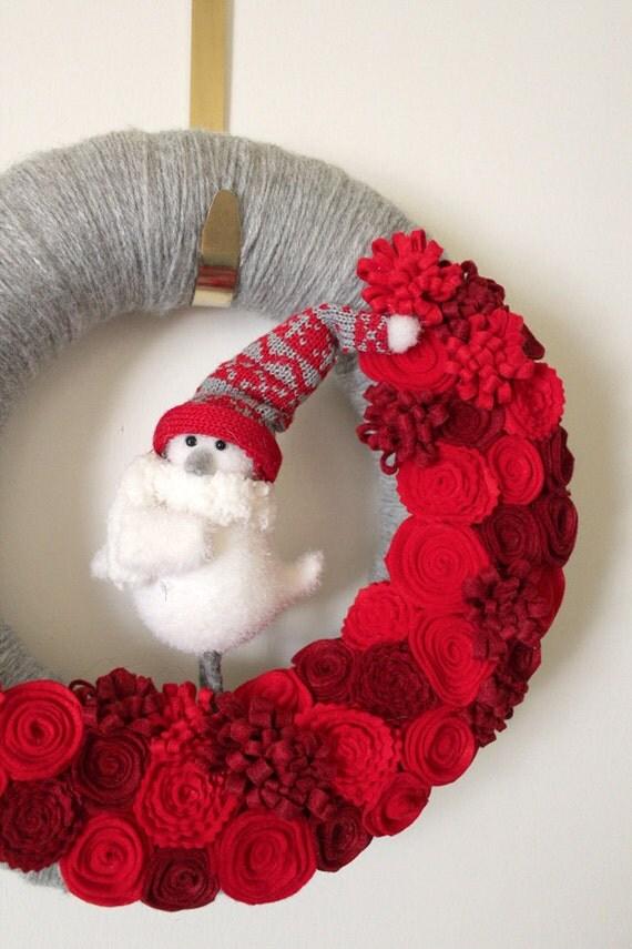 Winter Wreath, Bird Wreath, Red and Gray Wreath, Yarn and Felt Wreath, 12-inch size